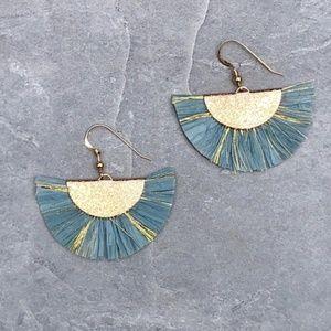 14K Gold Filled Boho Fan Tassel Earrings (Lt. Blue